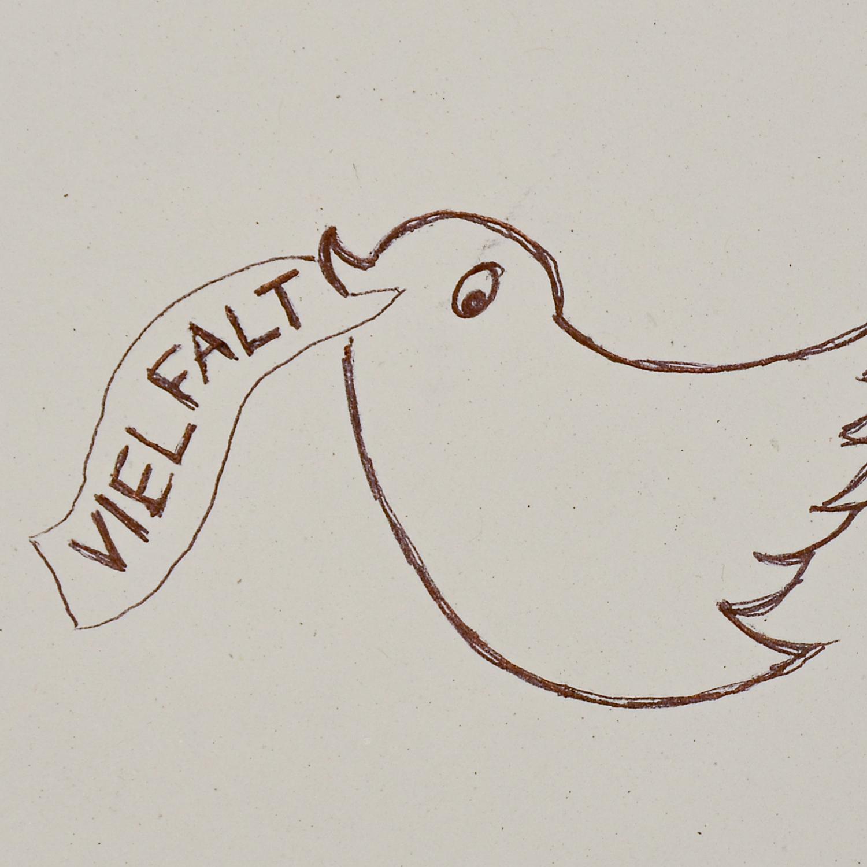 """Zeichnung eines Vogels mit Bändchen im Schnabel, auf dem """"Vielfalt"""" steht"""
