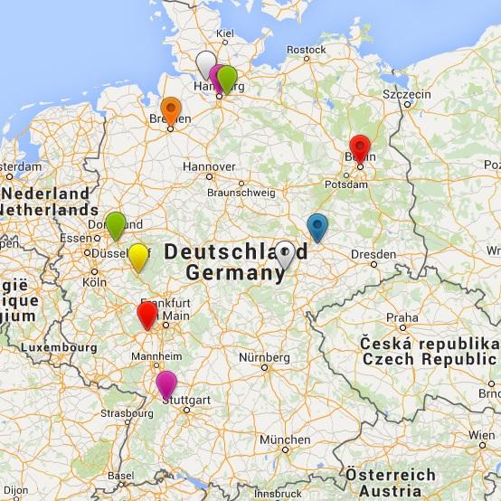Auf dieser Deutschlandkarte sind die Wohnorte unserer Redakteure markiert.