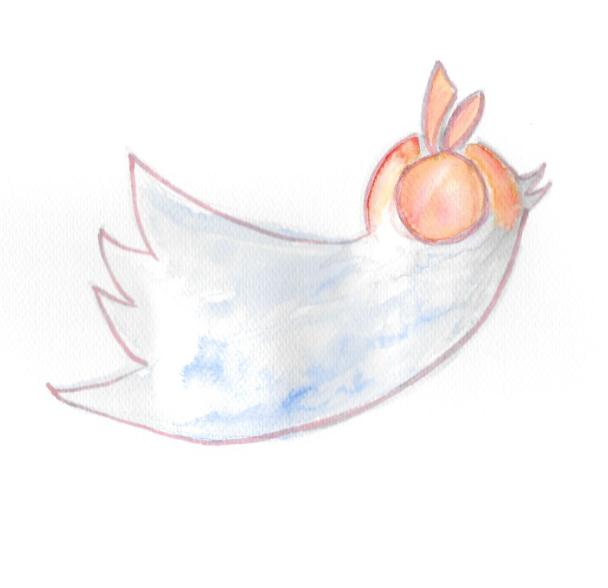 Twitter Vogel mit politikorange-Organge vor den Augen Zukunftsgezwitscher Grafik: Lilith Grull