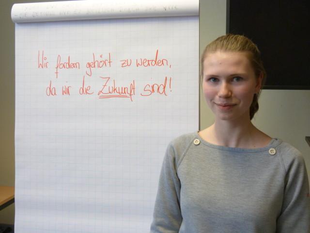 Hannah möchte von der Politik gehört werden und sich aktiv am Meinungsbildungsprozess beteiligen. Foto: Stephan Jaroschek