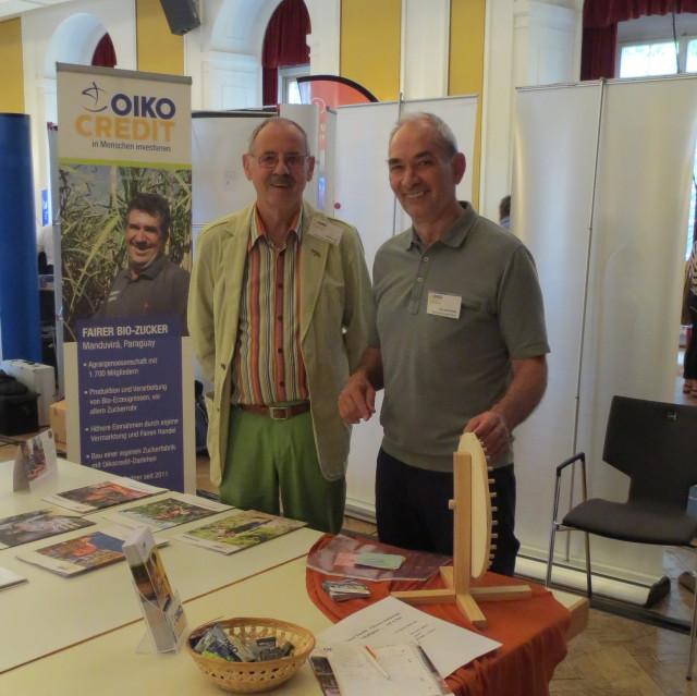 Die Oikocredit-Mitarbeiter Frey und Wittig (Foto: Nathalie Bockelt)