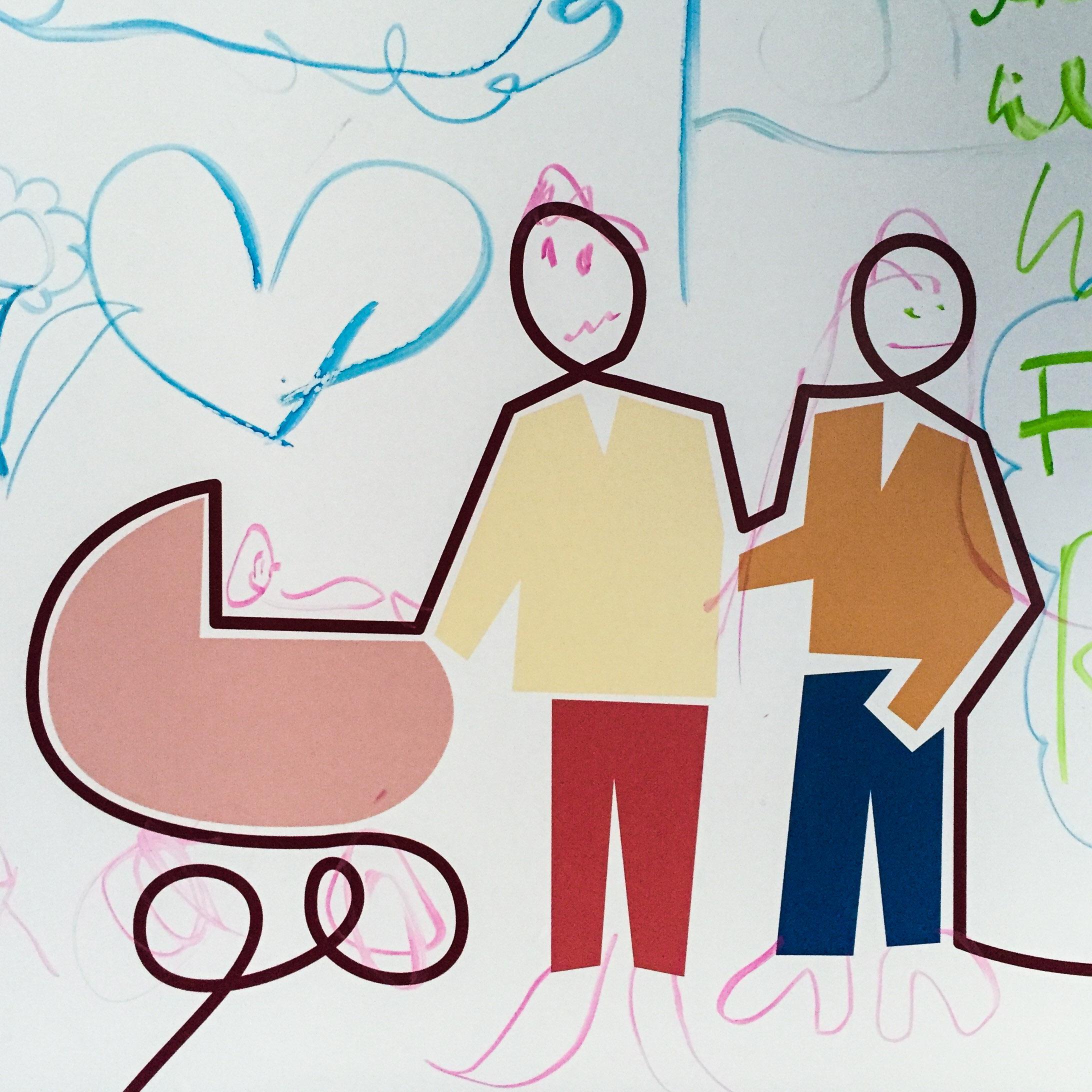 Illustration mit zwei Menschen und einem Kinderwagen