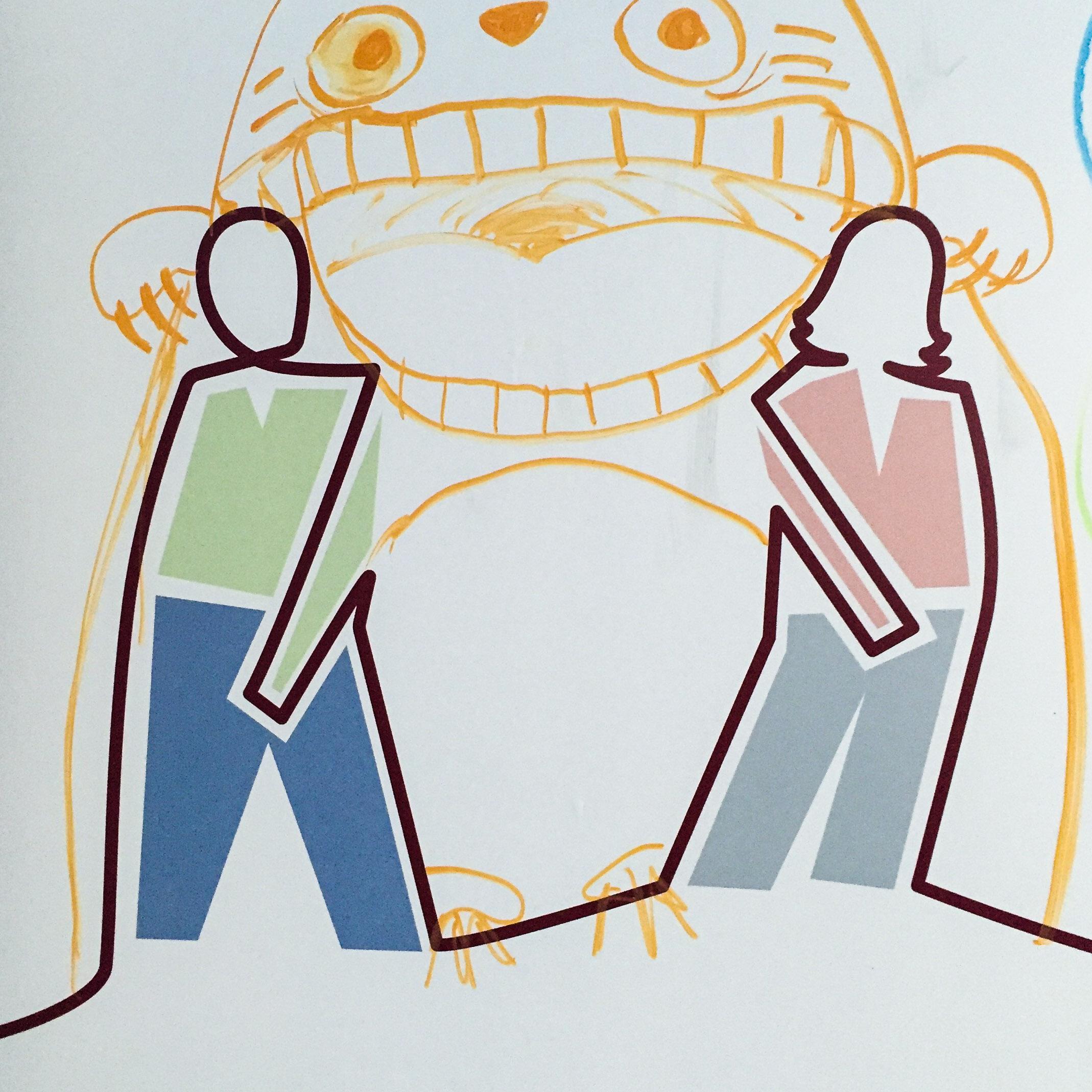 Illustration mit einer Frau und einem Mann