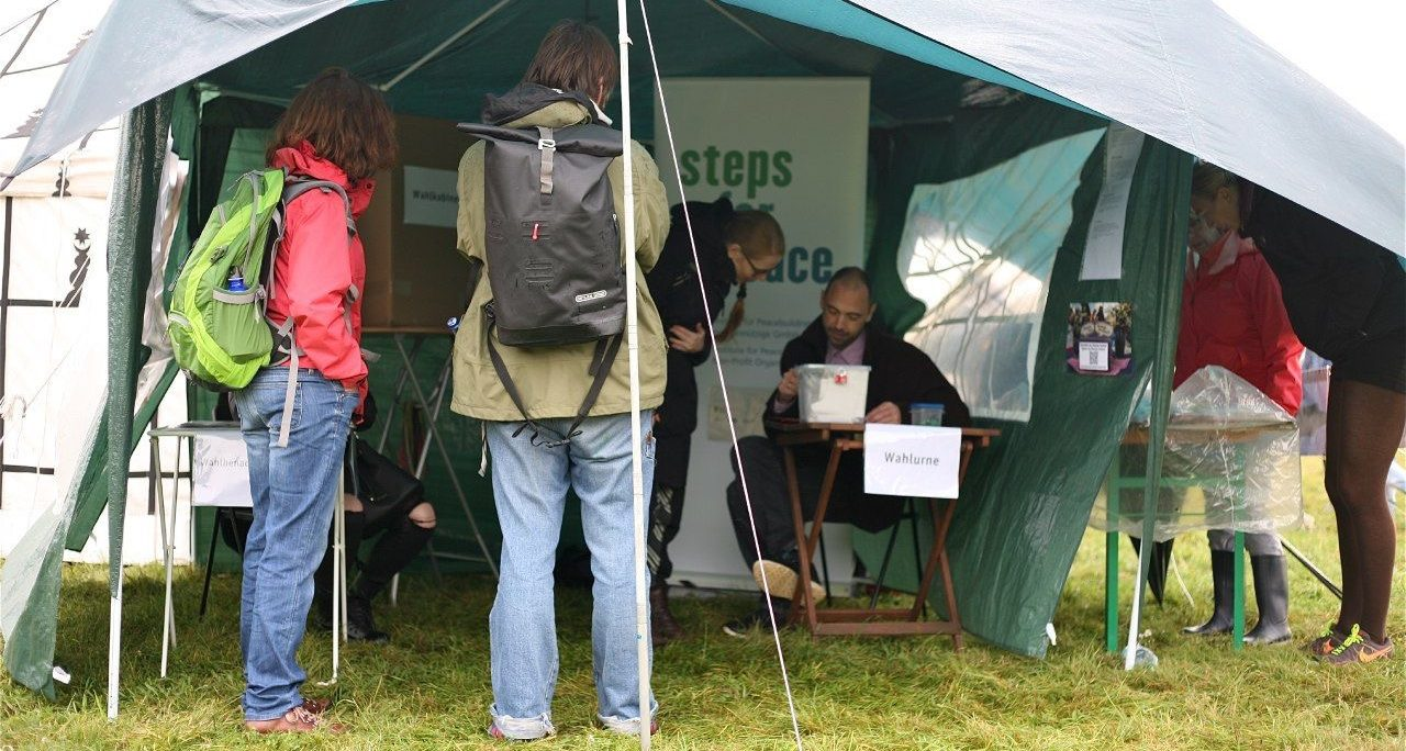 Wahlzelt beim Welcome Festival 2017