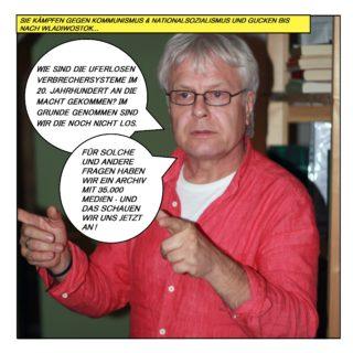 """Sie kämpfen gegen Kommunismus und Nationalsozialismus und gucken bis nach Wladiwostok. Andreas Schönfelder blickt nach vorne und fragt: """"Wie sind die uferlosen Verbrechersysteme im 20. Jahrhundert an die Macht gekommen? Im Gr"""