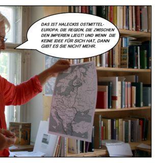 """Schönfelder erklärt mit Blick auf die Karte. """"Das ist Haleckis Ostmitteleuropa: Die Region, die zwischen den Imperien liegt! Und wenn die keine Idee für sich hat, dann gibt es sie nicht mehr!"""""""