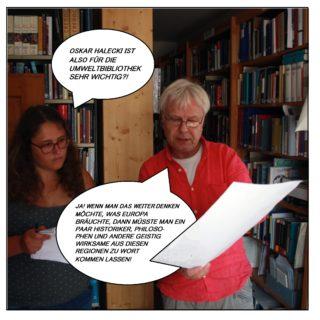 """Die Redakteurin Lea Seitz fragt: """"Oskar Halecki ist also für die Umweltbibliothek sehr wichtig?"""" Andreas Schönfelder antwortet: """"Ja! Wenn man das weiterdenken möchte, was Europa bräuchte, dann müsste man ein paar Historiker, Philosophen und andere geistig Wirksame aus diesen Regionen zu Wort kommen lassen!"""""""