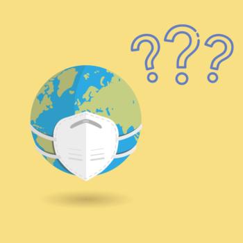 Die Illustration zeigt die Erdkugel mit einer FFP2 Maske auf und drei blauen Fragezeichen schräg rechts über der Erde. Der Hintergrund ist pastellgelb.