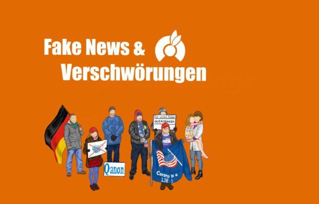 """Die Illustration von Anna Lena Kauf zeigt verschiedene Protestierende auf orangenen Grund. Unter ihnen befinden sich ein Mann mit einer Deutschlandfahne; eine Frau mit einem Plakat, auf dem eine OP Maske durchgestrichen ist; einen Mann mit einem """"Qanon"""" Plakat zu seinen Füßen; einen Mann mit einer blauen Fahne mit der US Amerikanischen Flagge darauf, worunter steht: """"Corona is a LIE !""""; ein Mann mit einem """"TRUMP 2020"""" Schal; eine Person mit einem Schild, dass die Aufschrift steht: """"Für unsere Freiheit Querdenken""""; und eine Frau, die ein Kind auf ihrem Arm trägt."""